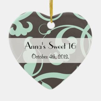 Sweet 16 - Swirled Pattern, Swirls - Blue Gray Ceramic Ornament