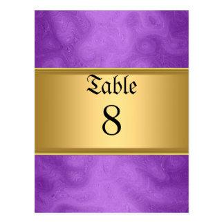 Sweet 16 table Numbers Cards Purple Postcard