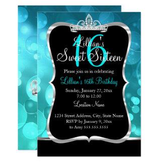 Sweet 16 Teal Blue Black Tiara Invitation