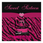 Sweet 16 Trendy Pink Cake & Zebra Stripes Personalised Announcements
