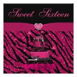 Sweet 16 Trendy Pink Cake & Zebra Stripes Invite