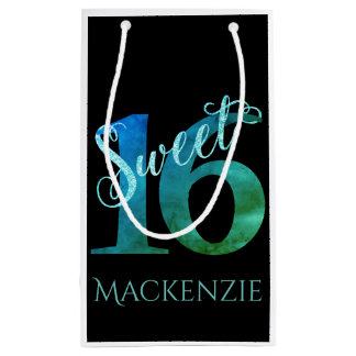 Sweet 16 Turquoise | Blue Green Watercolor Party Small Gift Bag