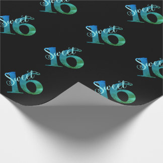Sweet 16 Turquoise | Blue Green Watercolor Party Wrapping Paper