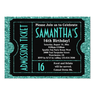 Sweet 16 Turquoise Blue Sparkle Ticket 11 Cm X 16 Cm Invitation Card