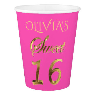 Sweet 16 Typography Pattern Pink and Gold Elegant Paper Cup