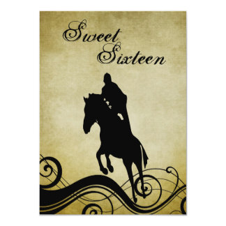 "Sweet 16 Vintage Horse Jumping Birthday Invite 4.5"" X 6.25"" Invitation Card"