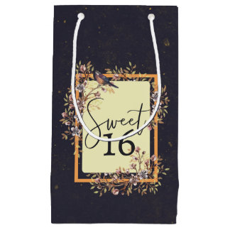 Sweet 16 Watercolor Florals Small Gift Bag