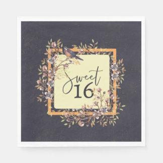 Sweet 16 Watercolor wreath Disposable Serviettes