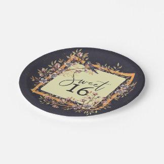 Sweet 16 Watercolor wreath Paper Plate