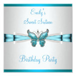 """Sweet 16 White Teal Blue Butterfly Birthday 5.25"""" Square Invitation Card"""