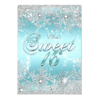 Sweet 16 Winter Wonderland Blue Teal Snowflake Card