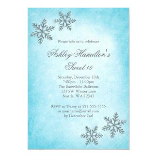 Sweet 16 Winter Wonderland Sparkle Snowflakes Invitation