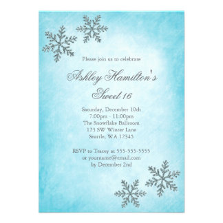 Sweet 16 Winter Wonderland Sparkle Snowflakes Announcement