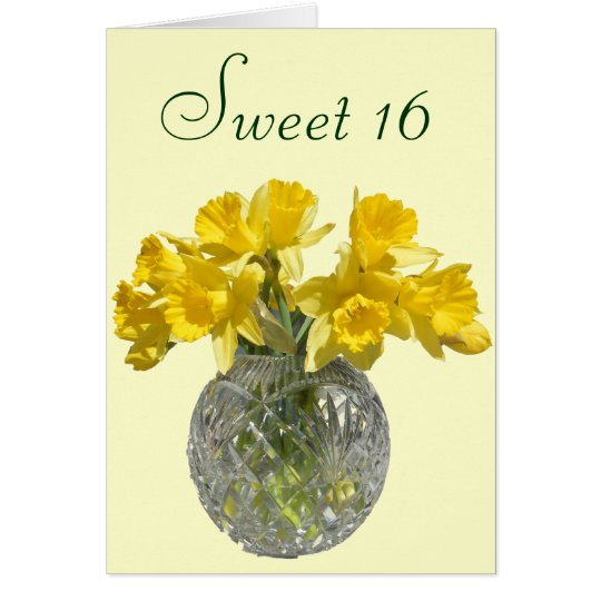 Sweet 16 Yellow Daffodil Bouquet Card