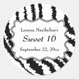 Sweet 16 Zebra Print Pattern Round Sticker