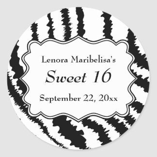 Sweet 16 Zebra Print Pattern Classic Round Sticker