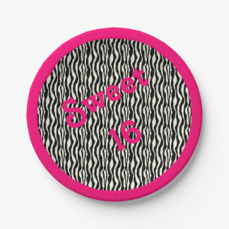 Sweet 16 Zebra Print w/ Pink Border Paper Plate