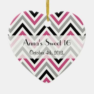 Sweet 16 - Zigzag Pattern, Chevron - Gray Pink Ceramic Ornament