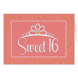 Sweet 16th Birthday with Crown and Gold Dots Card