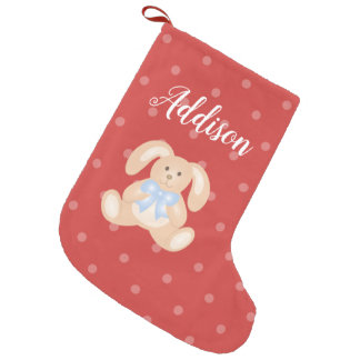 Sweet Adorable Blue Ribbon Cute Baby Bunny Rabbit Small Christmas Stocking