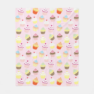 Sweet and Colorful Cupcake Pattern Fleece Blanket