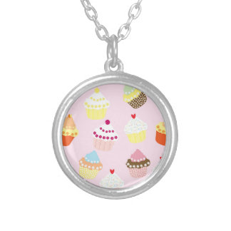Sweet and Colorful Cupcake Pattern Silver Plated Necklace