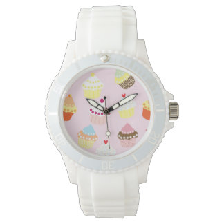 Sweet and Colorful Cupcake Pattern Watch