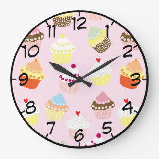 Sweet and Colorful Cupcake Pattern with Numbers Large Clock