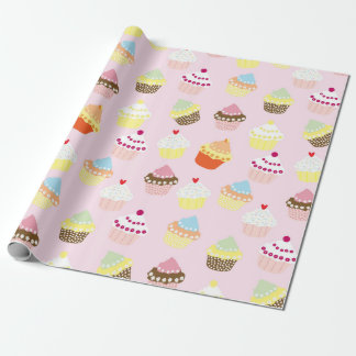 Sweet and Colorful Cupcake Pattern Wrapping Paper