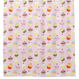 Sweet and Colourful Cupcake Pattern Shower Curtain