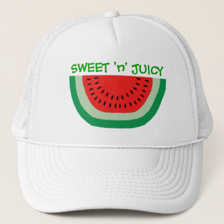 Sweet and Juicy Cartoon Watermelon Colorful Summer Trucker Hat