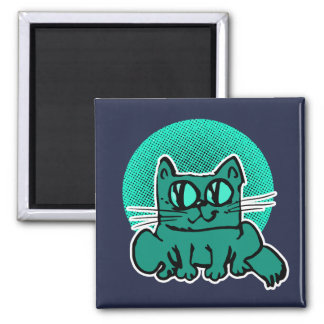 sweet and weird cat sitting on floor funny cartoon magnet