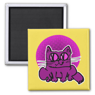 sweet and weird cat sitting on floor funny cartoon square magnet