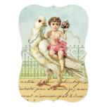 Sweet Angel Cherub in Pink on Vintage White Dove 13 Cm X 18 Cm Invitation Card