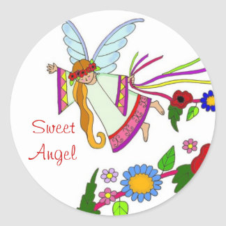 Sweet Angel Ukrainian Folk Art Classic Round Sticker