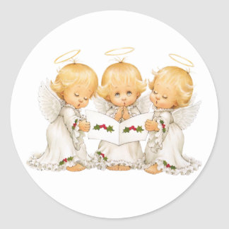 Sweet Angels Christmas Carols Classic Round Sticker