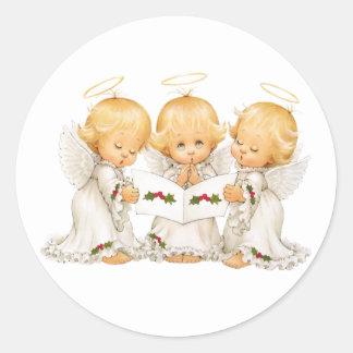 Sweet Angels Christmas Carols Round Sticker