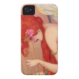 Sweet Antique Redheaded Angel on the Harp iPhone 4 Case