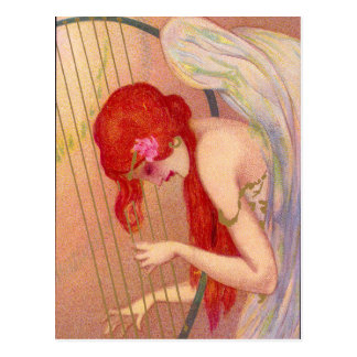 Sweet Antique Redheaded Angel on the Harp Postcard