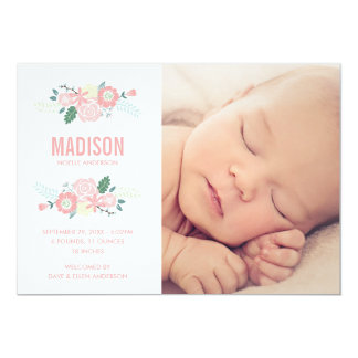 "Sweet Arrival | Birth Announcement 5"" X 7"" Invitation Card"