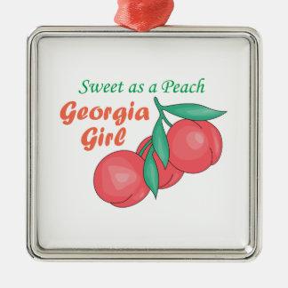Sweet As A Peach Georgia Gire Metal Ornament
