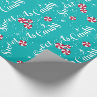 Sweet As Candy Peppermints & Teal Wrapping Paper