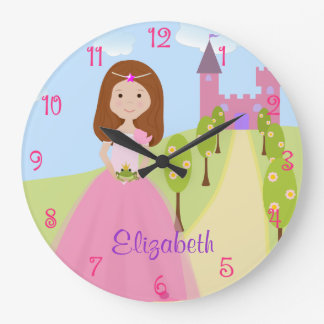 Sweet Auburn Hair Princess Personalized Large Clock