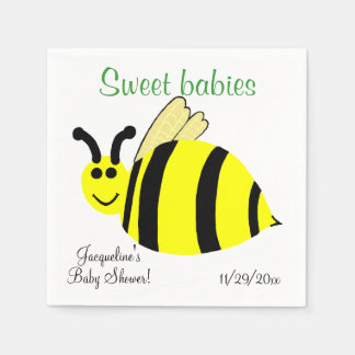 Sweet Babies Yellow Bumble Bee Twins Baby Shower Paper Napkins