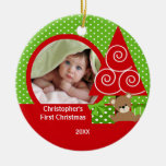 Sweet Baby Bear Boy Photo First Christmas Ornament