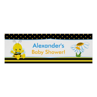 Sweet Baby Bee Boy Baby Shower Banner Poster