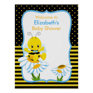 Sweet Baby Bee Boy Baby Shower Poster
