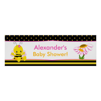 Sweet Baby Bee Girl Baby Shower Banner Poster