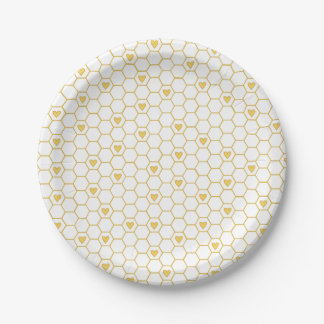 Sweet Baby Bee Honeycomb Paper Plates 7 Inch Paper Plate