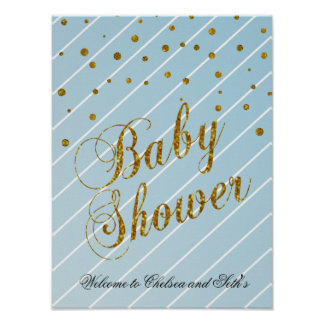 Sweet Baby Blue and Gold Confetti Poster